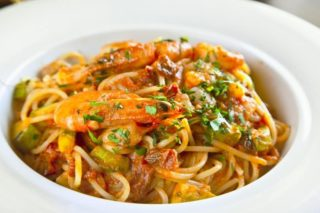 Pasta in a prawns sauce delivery