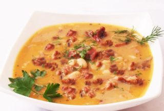 Beans broth with smoked meat delivery