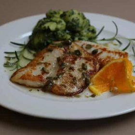 Catfish in sauce with capers