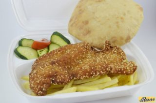 Fried chichen breast in sesame delivery