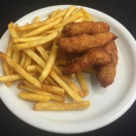 Chicken sticks with fries