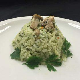 Rice with swiis chard and mushrooms
