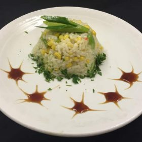Risotto with leek and corn