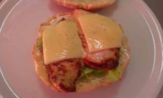 Chicken breasts with cheese in bun delivery