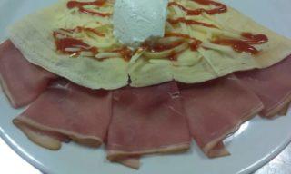 7.Pancake prosciutto, cheese, sour cream delivery