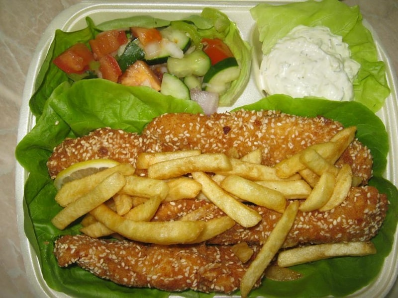 Fried chicken breast in sesame delivery