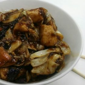 Chicken with mushrooms and seasonal vegetables in soy sauce