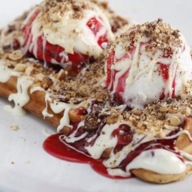 Raspberry, white chocolate waffle delivery