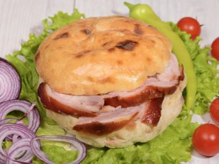 Shepherds bun with rolled pork delivery