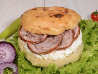 Shepherds bun with rolled veal and cheese delivery