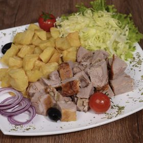 Meal rolled roasted veal 200 grams with shepherd's potato