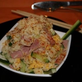 Rice with ham, cucumber and eggs