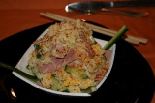 Rice with ham, cucumber and eggs delivery