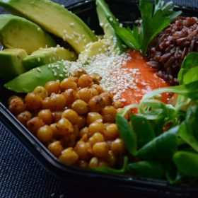 Buddha bowl with chickpeas, avocado and sprouts