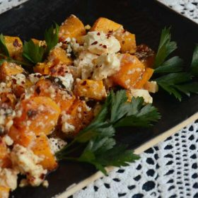Grilled pumpkin with feta and sumak