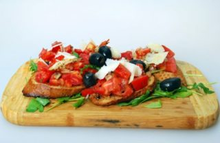 Bruschette with tomato and basil delivery