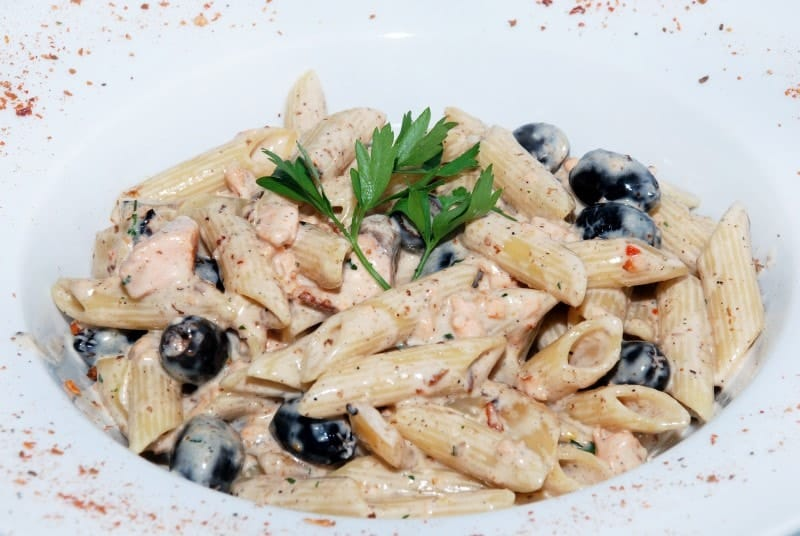 Penne with salmon delivery