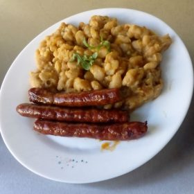 Baked beans and smoked sausage delivery