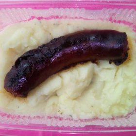 Sausage with mashed potato