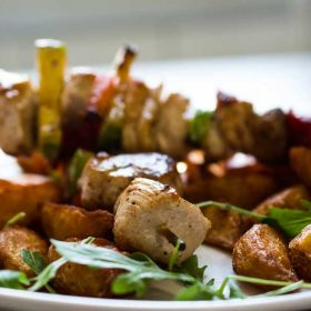 Chicken kabob with grilled vegetables delivery