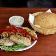 Grilled chicken fillet with grilled vegetables