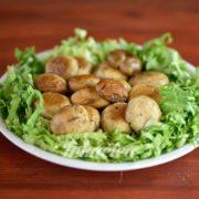 Meal menu grilled mushrooms