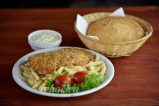 Meal menu viennese chicken steak in sesame delivery