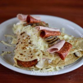 Crepe ham, kulen, cheese, sour cream, mushrooms delivery