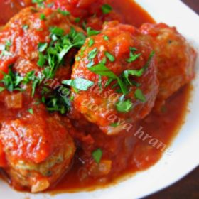 Meatballs in tomato sauce with mashed potato