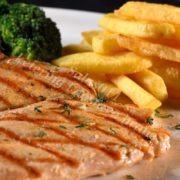Grilled chicken white with french fries
