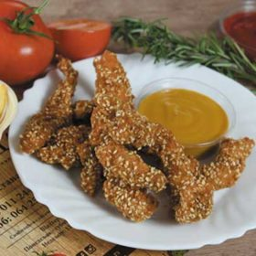 Breaded chicken sticks, sauce, fries delivery