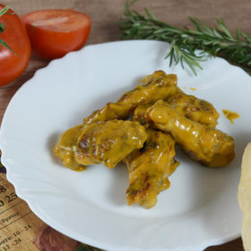 Chicken wings with mustard and honey