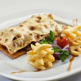Cevapi with kajmak and french fries delivery