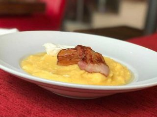 Polenta with cheese and crispy bacon delivery