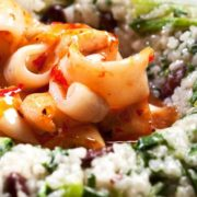 Risotto with squid  spinach and red beans