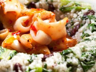 Risotto with squid  spinach and red beans delivery