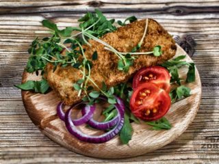 Breaded hake fillet  meal delivery