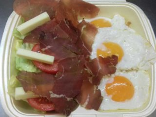 3 eggs, prosciutto, cheese, seasonal salad Pantela delivery