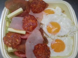 3 eggs  beef prosciutto  pecenica  kulen  cheese  seasonal salad delivery