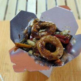 Fried squids with vegetables in a sauce by your choice delivery