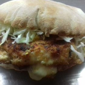 Stuffed chicken fillet in bun delivery