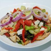 Greek salad with gyros chicken