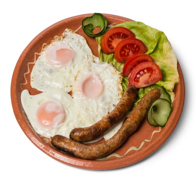 Fried eggs with fried sausage delivery