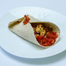 Scrambled eggs in tortilla delivery