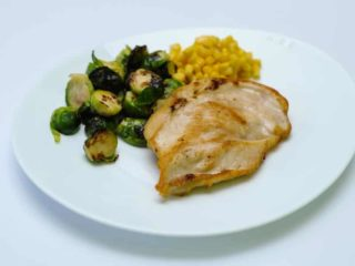 Chicken fillet with Brussels Sprouts and corn delivery