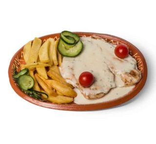 Chicken in sauce of four kinds of cheese delivery