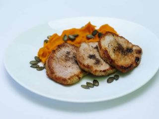 Pork fillet with pumpkin puree delivery