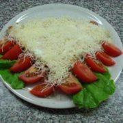 Pancake sour cream, beef prosciutto, cheese, tomato, salad
