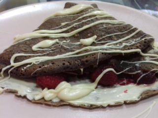 Pancake with white cream and raspberry choco dough Pinokio palačinke delivery