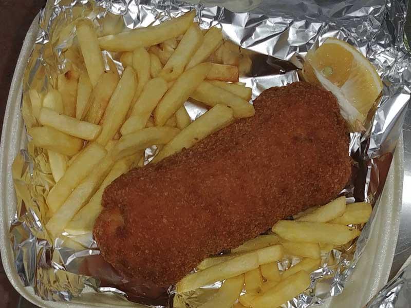 Karadjordjeva chicken steak + french fries + tartar + bun delivery